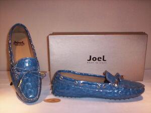 Scarpe-basse-mocassini-Joel-donna-shoes-women-casual-pelle-blu-azzurro-new-35-36