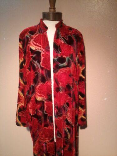 Duster in Hand Painted Silk Velvet Vintage Print