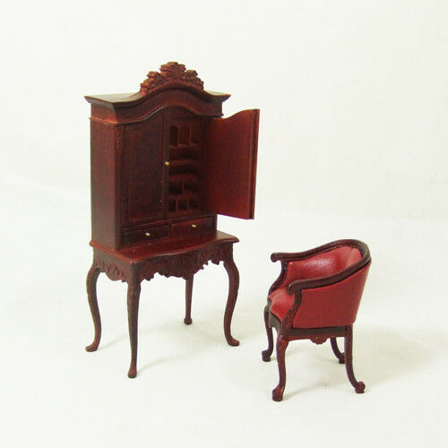 Hansson 1 12 dollhouse mahogany study lady cabinet desk & chair Scrivania -40%