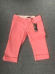 YMI-NWT-Womens-Cropped-Capri-Cuffed-Pants-5-Juniors-Coral-Cotton-Stretch