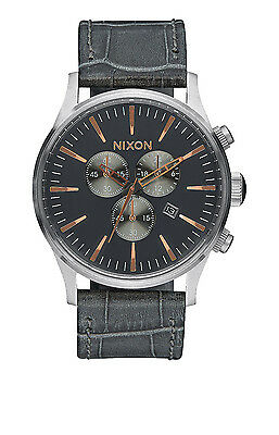 New Nixon Sentry Chronograph Gray Gator Leather Strap Mens Watch A4052145