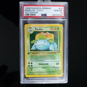PSA 10 GEM MINT 1 Edition BISAFLOR/Venusaur German Pokemon BASE 76 worldwide!