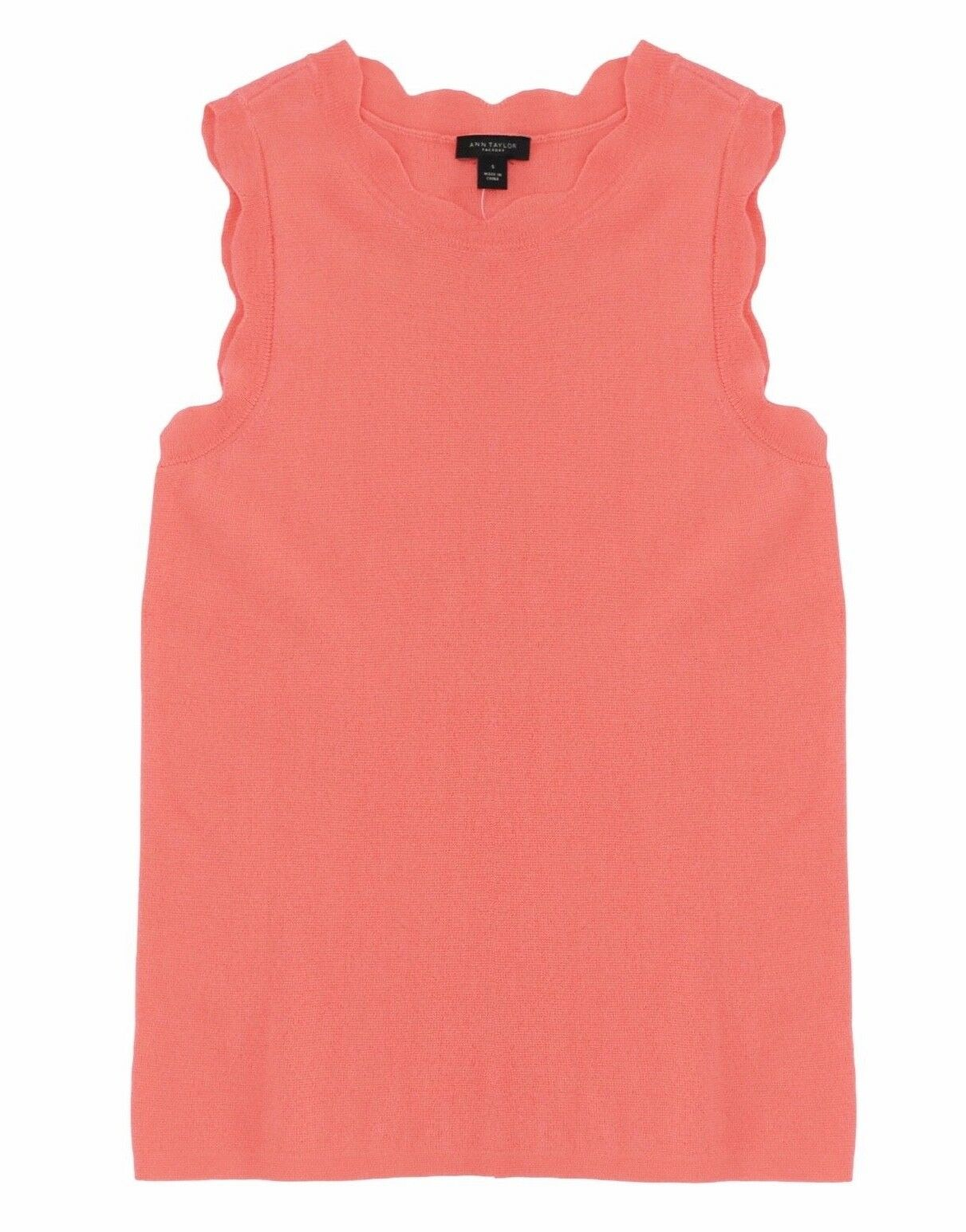 Ann Taylor Factory Women's M NWT Coral Pink Scalloped Sweater Shell Tank