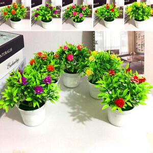 Plastic-Rose-Artificial-Plants-Bonsai-Small-Tree-Pot-Plant-Fake-Flowers-Potted