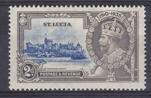 DB366-St-Lucia-1935-Jubilee-2d-ultramarine-amp-grey-SG-110-with-variety