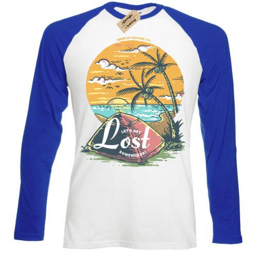 Lets Get Lost T-Shirt adventure camping holiday explorers Mens Baseball