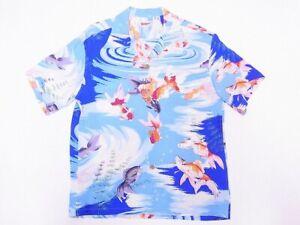 SUN SURF Hawaiian Shirt Toyo Rayon Aloha Gold Fish Blue Japan New Gift