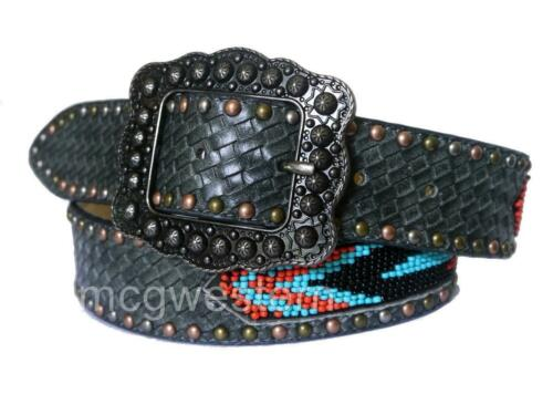 Angel Ranch Western Womens Belt Leather Weave Embossed Beaded Inlay Black A1800