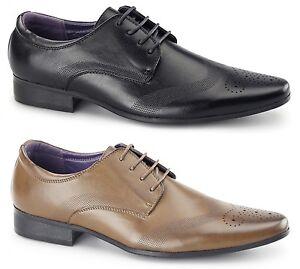 Hommes Bout Pointu Habillé Brogue Chaussures Smart Soirée Mode Taille Noir Fauve