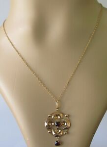 Vintage-9ct-yellow-gold-garnet-open-pendant-amp-9ct-yellow-gold-chain