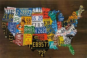 USA-License-Plate-Map-Print-Wood-Frame-Wall-Decor-NEW