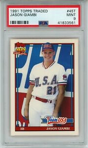 Jason Giambi 1991 Topps Traded #45T RC Rookie (Athletics) PSA 9 MINT (Bright)