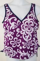 Swimsuit Top Only Adjustable Cinched Tie Sides Water Aerobics Plus 16 16w