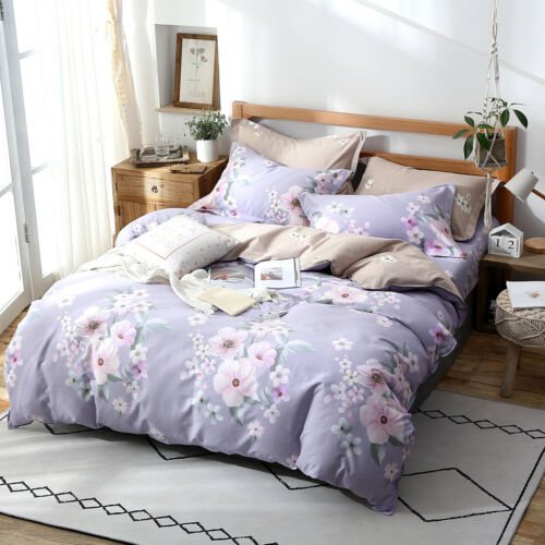 Floral Quilt//Duvet//Doona Cover Set Single Double Queen King Size Bedding Linen