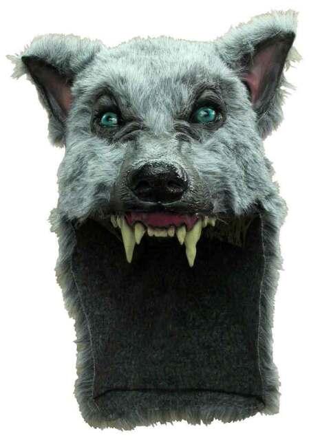 GREY WOLF MASK & FUR SKIN ANIMAL SHAMAN SCARY LATEX FANCY DRESS HALLOWEEN NEW