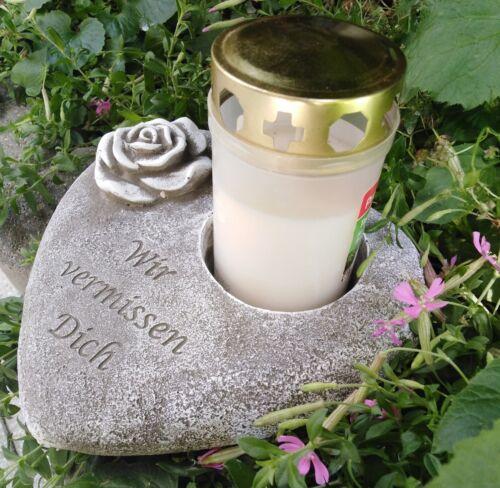 Wir vermissen Dich Grabherz Rose Grabschmuck GedenksteinTrauerherz f Grablic