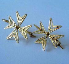 VINTAGE 18ct Giallo Oro Filigrana Croce di Malta Goccia Dangle Earrings Piercing 750