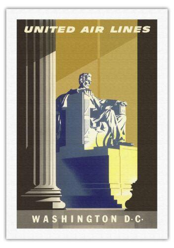 Washington D.C Lincoln Memorial Vintage Airline Travel Art Poster Print Giclee