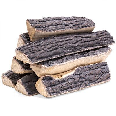 10 Pcs LARGE Ceramic Wood Log Set Fake Fire Firepit Logs Decor Imitation Propane