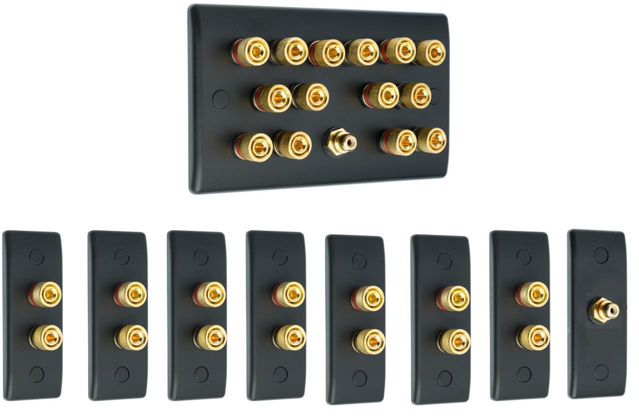 Matt Black 7.1 Slimline Surround Sound Audio AV Speaker Wall Face Plate Kit