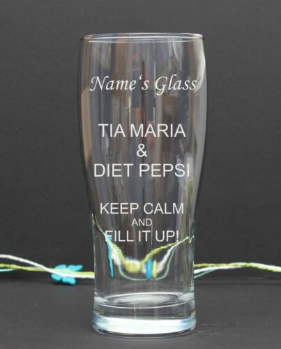 Personalised Engraved pint//tulip TIA MARIA /& DIET PEPSI GLASS Birthday Gift 31