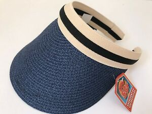 Women-Wide-Brim-Visor-Cap-Lady-Summer-Beach-Straw-Clip-On-Sun-Hat-Tennis-Golf-Na