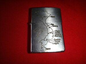 VIETNAM-War-Year-1972-Zippo-Lighter-With-VIETNAM-MAP-Logo-And-DA-NANG-72-73