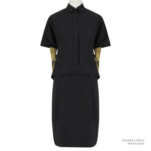 Dries-Van-Noten-Elegant-Black-Cotton-Layered-Waist-Duca-Dress-FR36-UK8-IT40
