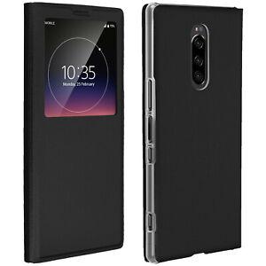 SMART-View-Finestra-Flip-Case-per-Sony-Xperia-1-copertura-Slim-nero