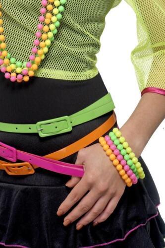 Ladies 80 S Fluorescent Neon Beaded autres Bracelets Womens 80/'s Fancy Dress Accessories
