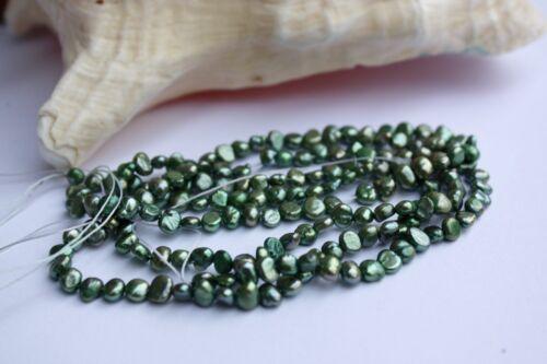 BR50Green2 5-6 mm cultivadas perlas joyas de perlas agua dulce collar barroco