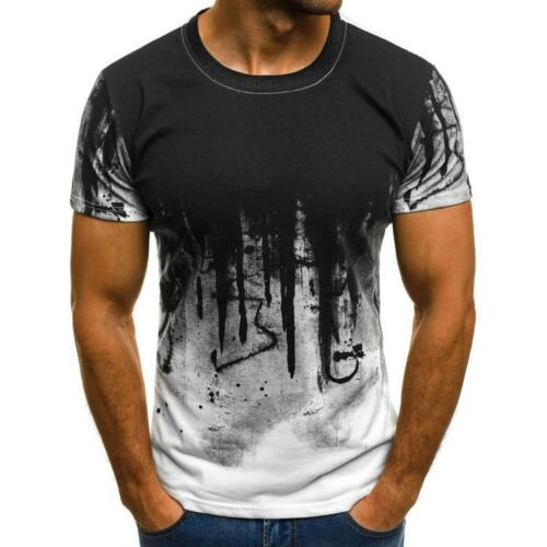 Men Fit Summer Short Sleeve Muscle Tee T-shirt Printed Casual Tops Blouses