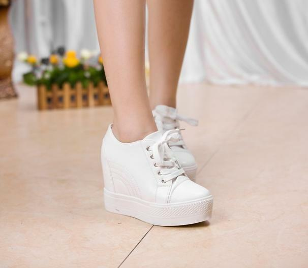 10cm Ankle White Womens Lace Hidden Wedge Heel Sneakers Trainer Casual shoes ADE