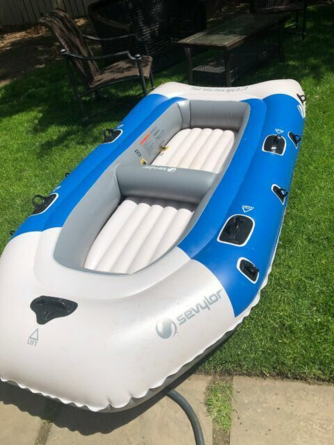 pump inflatable boat sevylor colossus 2 person oars