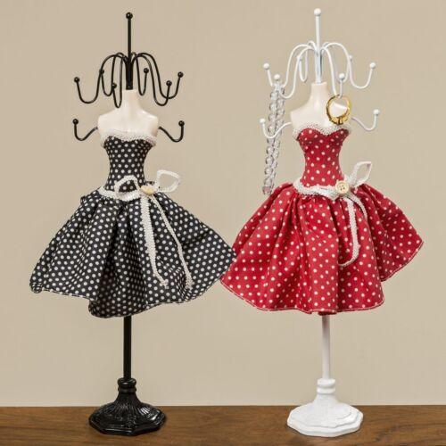 Schmuckhalter Polka Kleid rot o schwarz Schmuckständer Schmuckaufbewahrung 38cm