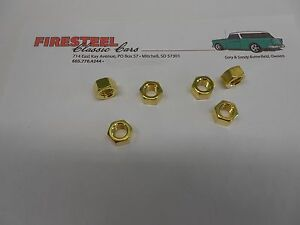 1955-1956-1957-Chevy-27-116D-BRASS-NUTS-6-EXHAUST-MANIFOLD-3-8-16-New