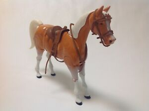 Vtg-toy-horse-West-Germany-articulated-plastic-Cheval-jouet-annees-70