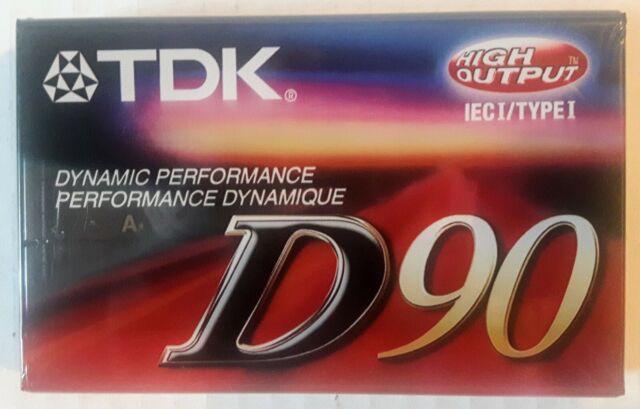 TDK D90 High Output Normal Bias IEC Type 1 Audio Cassette - New Factory Sealed