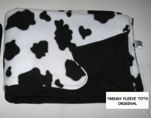 COW FLEECE baby blanket reversible BLACK pushchair buggy BN original