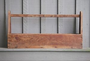 Old Vintage Primitive Carpenters Wooden Tool Box Caddy Tote Rustic