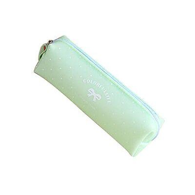 Trousse à crayons, trousse scolaire en silicone gel série bonbon pastel (vert)