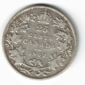 CANADA-1907-TWENTY-FIVE-CENTS-QUARTER-KING-EDWARD-VII-STERLING-SILVER-COIN