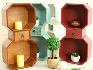Style De Mode Cube Mural Tiroir De Rangement étagères Shabby Bois Octogonale Decor étagères Bibliothèque-afficher Le Titre D'origine
