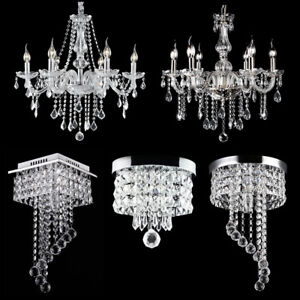 Details About Modern Chandelier Crystal Gl Led Ceiling Light Fixture Pendant Hanging Lamp