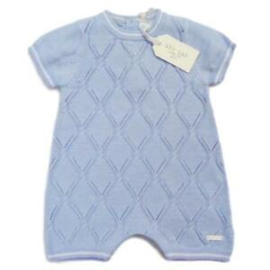 NEW BABY BOYS KNITTED DIAMOND ROMPER SPANISH STYLE 0-3-6-9 MONTHS