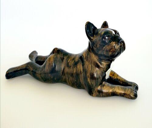 "Statue of French Bulldog lying /""Arnold/"" model Ceramic length 14 centimeters"