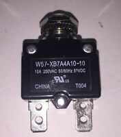 W57-xb7a4a10-10 Tyco Circuit Breaker Thermal 1pole 10a 250vac Panel Mount Reset