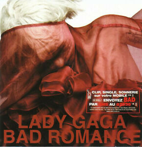 FRENCH-CD-SINGLE-LADY-GAGA-BAD-ROMANCE-CARDBOARD-SLEEVE-RARE-COLLECTOR-BON-ETAT