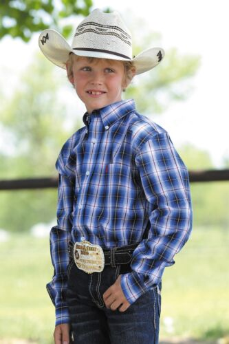 Cinch Boy/'s Red White /& Blue Plaid Long Sleeve Button Up Shirt MTW7060183