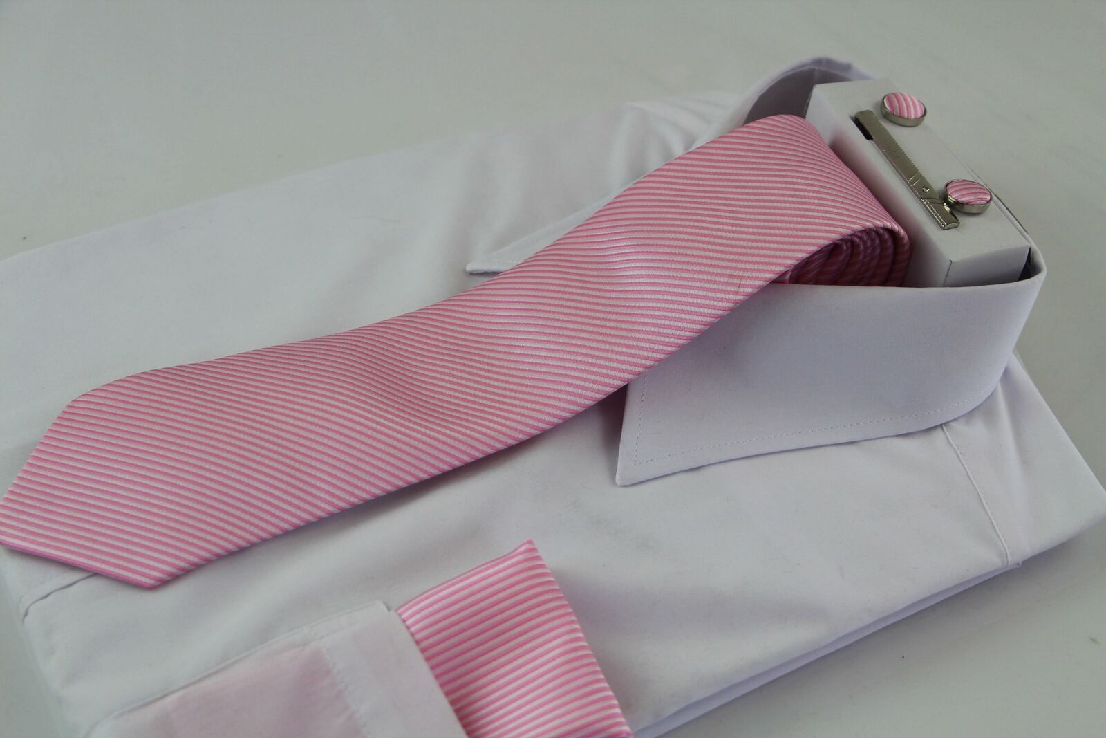 Mens Pink Striped Matching Neck Tie, Pocket Square, Cuff Links And Tie Clip Set